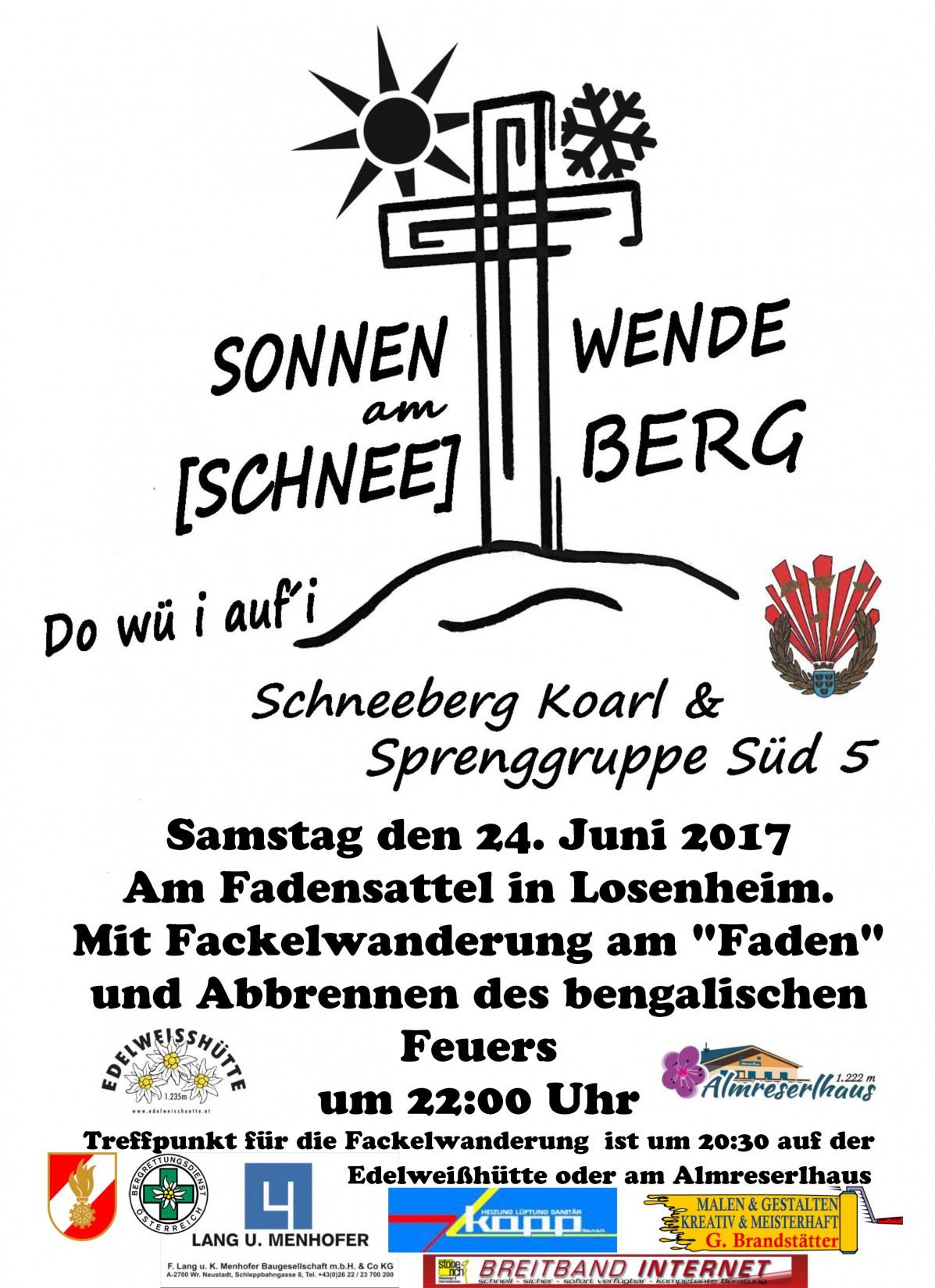 Sonnwendfeier am Schneeberg am 24. Juni