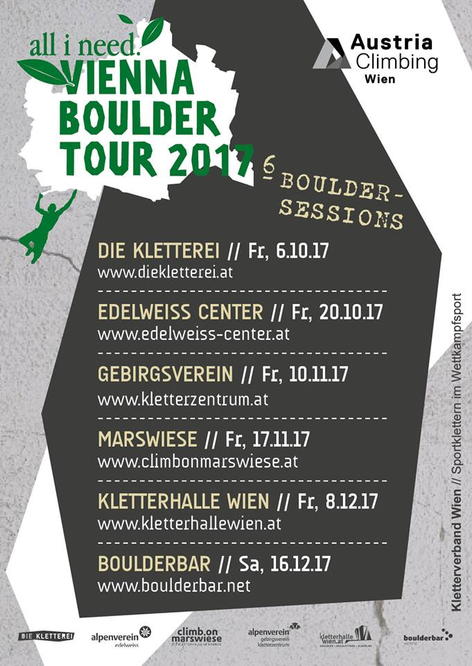 all i need Vienna Boulder Tour im Edelweiss-Center 20.10.2017